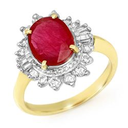 4.50 CTW Ruby & Diamond Ring 14K Yellow Gold - REF-100W2H - 13222