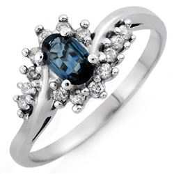 0.50 CTW Blue Sapphire & Diamond Ring 14K White Gold - REF-32M2F - 10363