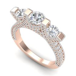 2.3 CTW VS/SI Diamond Solitaire Micro Pave 3 Stone Ring Band 18K Rose Gold - REF-263X6T - 36957