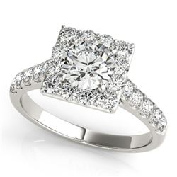 2 CTW Certified VS/SI Diamond Solitaire Halo Ring 18K White Gold - REF-430R2K - 26832