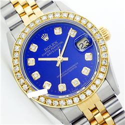 Rolex Ladies Two Tone 14K Gold/ss, Diamond Dial & Diamond Bezel, Saph Crystal - REF-363K3R