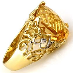 10.03 CTW Citrine & Diamond Ring 10K Yellow Gold - REF-37T5X - 11017