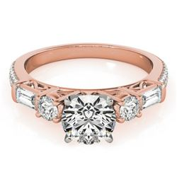 2 CTW Certified VS/SI Diamond Pave Solitaire Ring 18K Rose Gold - REF-452X2T - 28108