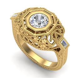 1.13 CTW VS/SI Diamond Solitaire Art Deco Ring 18K Yellow Gold - REF-360X2T - 37048