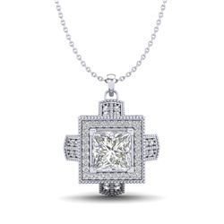 1.46 CTW Princess VS/SI Diamond Solitaire Micro Pave Necklace 18K White Gold - REF-418F2M - 37193