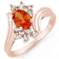 1.0 CTW Orange Sapphire & Diamond Ring 14K Rose Gold - REF-35F3M - 10367