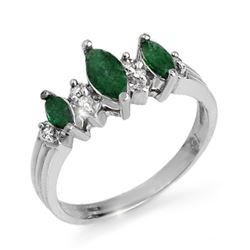 1.0 CTW Emerald & Diamond Ring 18K White Gold - REF-38T4X - 12838