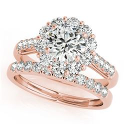 3.14 CTW Certified VS/SI Diamond 2Pc Wedding Set Solitaire Halo 14K Rose Gold - REF-610F3M - 30745