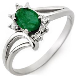 0.50 CTW Emerald & Diamond Ring 18K White Gold - REF-30M9F - 10527