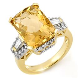 9.55 CTW Citrine & Diamond Ring 10K Yellow Gold - REF-73T8X - 11565