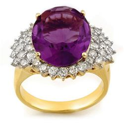 8.18 CTW Amethyst & Diamond Ring 14K Yellow Gold - REF-107H5W - 11159