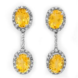 6.10 CTW Citrine & Diamond Earrings 10K White Gold - REF-30Y8N - 10062