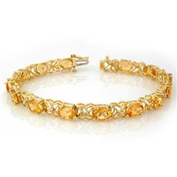 10.65 CTW Citrine & Diamond Bracelet 10K Yellow Gold - REF-53Y5N - 10521