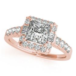 1.65 CTW Certified VS/SI Princess Diamond Solitaire Halo Ring 18K Rose Gold - REF-253R8K - 27193