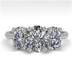 2.0 CTW Oval Cut VS/SI Diamond 3 Stone Designer Ring 14K White Gold - REF-395W8H - 38497