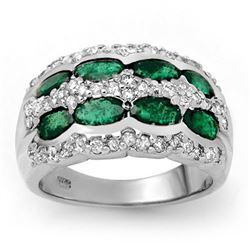 2.25 CTW Emerald & Diamond Ring 14K White Gold - REF-105H5W - 13982