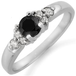 0.75 CTW Vs Certified Black & White Diamond Ring 10K White Gold - REF-33X5T - 11514