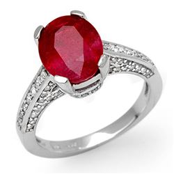 5.0 CTW Ruby & Diamond Ring 10K White Gold - REF-70W9H - 11884