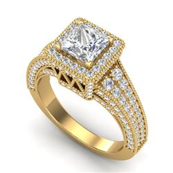 3.5 CTW Princess VS/SI Diamond Solitaire Micro Pave Ring 18K Yellow Gold - REF-581R8K - 37168