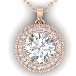 2 CTW I-SI Diamond Solitaire Art Deco Micro Halo Necklace 14K Rose Gold - REF-559K6R - 30532