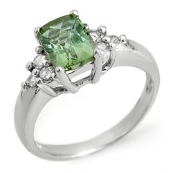 2.55 CTW Green Tourmaline & Diamond Ring 14K White Gold - REF-54M4F - 10335