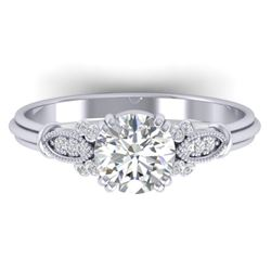 1.15 CTW Certified VS/SI Diamond Solitaire Art Deco Ring 14K White Gold - REF-281F8M - 30549