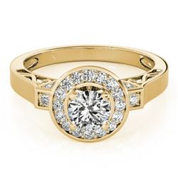 1.5 CTW Certified VS/SI Diamond Solitaire Halo Ring 18K Yellow Gold - REF-394K5R - 27086