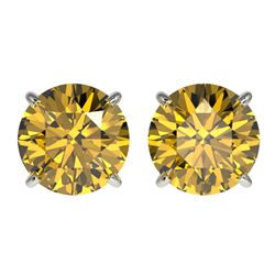 3 CTW Certified Intense Yellow SI Diamond Solitaire Stud Earrings 10K White Gold - REF-514W2H - 3312