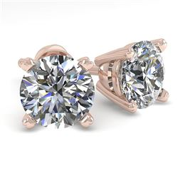 1.53 CTW VS/SI Diamond Stud Designer Earrings 14K Rose Gold - REF-300W2H - 30591