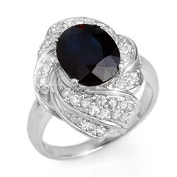 3.85 CTW Blue Sapphire & Diamond Ring 18K White Gold - REF-102K2R - 13087