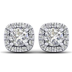 1.08 CTW Certified VS/SI Diamond Solitaire Stud Halo Earrings 14K White Gold - REF-103R3K - 30420
