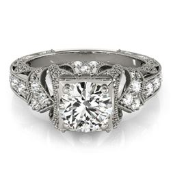 1.25 CTW Certified VS/SI Diamond Solitaire Antique Ring 18K White Gold - REF-399K5R - 27297