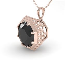 1 CTW Black Diamond Solitaire Necklace 18K Rose Gold - REF-50Y9N - 35996