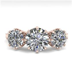 2 CTW Past Present Future Certified VS/SI Diamond Ring 18K Rose Gold - REF-414Y2N - 35774