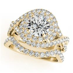 1.76 CTW Certified VS/SI Diamond 2Pc Wedding Set Solitaire Halo 14K Yellow Gold - REF-251F3M - 31033