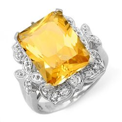 9.25 CTW Citrine & Diamond Ring 14K White Gold - REF-58F9M - 11485
