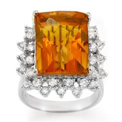 17.15 CTW Citrine & Diamond Ring 10K White Gold - REF-103R5K - 10681