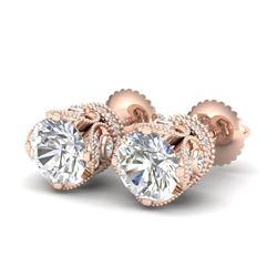 3 CTW VS/SI Diamond Solitaire Art Deco Stud Earrings 18K Rose Gold - REF-622R2K - 36861