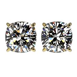 2.50 CTW Certified VS/SI Quality Cushion Cut Diamond Stud Earrings 10K Yellow Gold - REF-663Y2N - 33