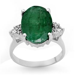6.35 CTW Emerald & Diamond Ring 14K White Gold - REF-90F9M - 13354