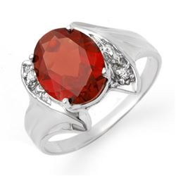 1.64 CTW Garnet & Diamond Ring 18K White Gold - REF-30H4W - 12317