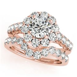 4.01 CTW Certified VS/SI Diamond 2Pc Wedding Set Solitaire Halo 14K Rose Gold - REF-647K4R - 30826