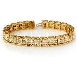 7.0 CTW Certified VS/SI Diamond Bracelet 14K Yellow Gold - REF-420R8K - 14080