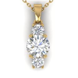 1.5 CTW Certified VS/SI Diamond Art Deco Stud Necklace 14K Yellow Gold - REF-378M4F - 30311