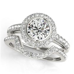 1.91 CTW Certified VS/SI Diamond 2Pc Wedding Set Solitaire Halo 14K White Gold - REF-414W2H - 31280