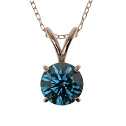 0.73 CTW Certified Intense Blue SI Diamond Solitaire Necklace 10K Rose Gold - REF-100Y2N - 36743