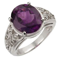 4.65 CTW Amethyst & Diamond Ring 10K White Gold - REF-38R8K - 10872