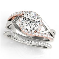 1.5 CTW Certified VS/SI Diamond Bypass Solitaire 2Pc Set 14K White & Rose Gold - REF-398W5H - 31787