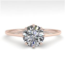 1.0 CTW Certified VS/SI Diamond Engagement Ring 18K Rose Gold - REF-283T4X - 35738