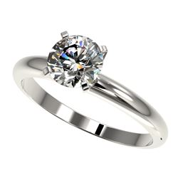 1.26 CTW Certified H-SI/I Quality Diamond Solitaire Engagement Ring 10K White Gold - REF-245F5M - 36